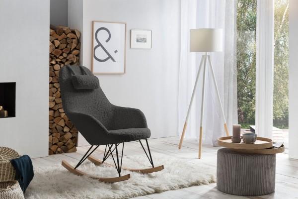 SalesFever Schaukelstuhl mit Kopfkissen   Bezug Teddyfell grau   Kufen Massiv-Holz
