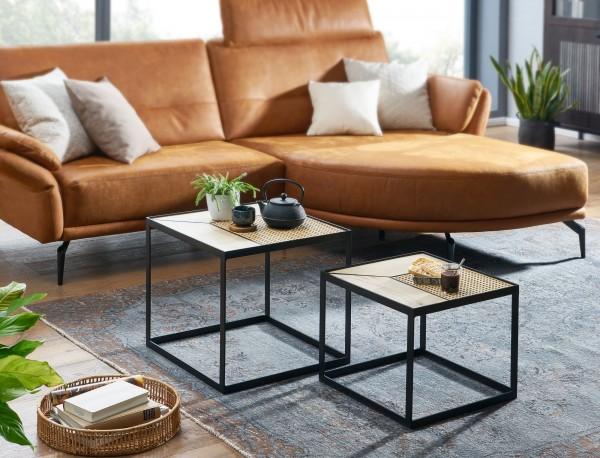 Wohnling Design Couchtisch 2er Set Mango / Rattan