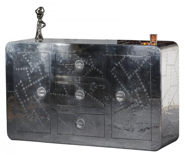 SIT Möbel Sideboard 150 cm mit Zierschrauben   2 Türen, 3 Schubladen   Mangoholz + MDF mit Alu