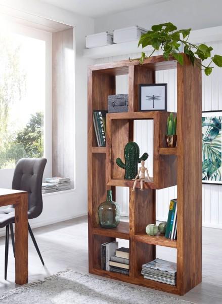 WOHNLING Bücherregal MUMBAI Massiv-Holz Sheesham 90 x 180 cm Wohnzimmer-Regal Ablagefächer Design