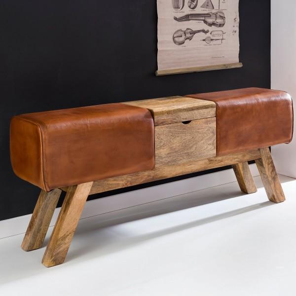 WOHNLING Design Turnbock Sitzbank Braun Aufbewahrungsfach 120 cm