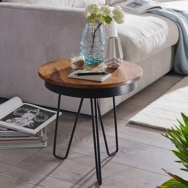 WOHNLING Beistelltisch 43 x 45 x 43 cm WL5.680 Sheesham Holz Metall Couchtisch | Industrial Style