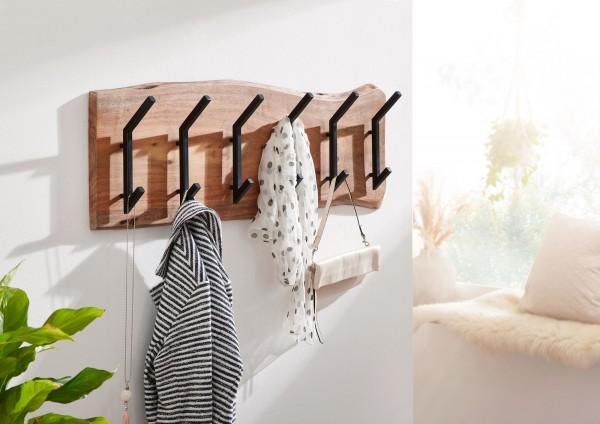 WOHNLING Design Wandgarderobe Holz Metall 100 cm Hakenleiste