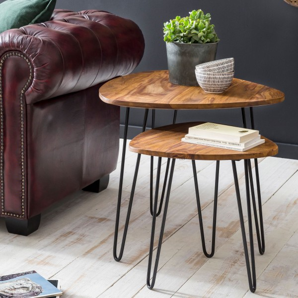 WOHNLING Design Satztisch WL5.659 Sheesham Metall Beistelltisch 2er Set Klein | Couchtisch Set
