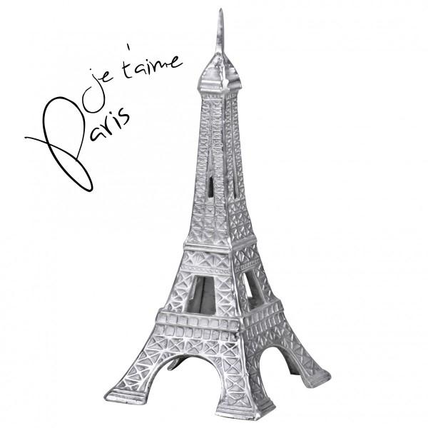 WOHNLING Deko Design 3D Eiffelturm Modell Paris groß 24 x 53 x 24 cm Geschenk Metall Silbern