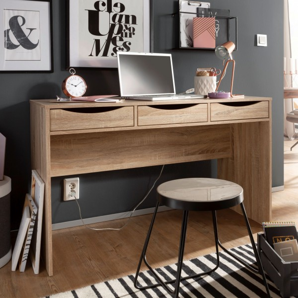 WOHNLING Schreibtisch SAMO 120 cm | Design Büro-Tisch in Sonoma Eiche | Moderner Computer-Tisch