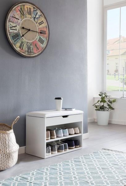 WOHNLING Schuhbank SOFIA mit Sitzfläche Weiß Garderoben-Bank Holz 60 x 40 x 30 cm   Holzbank