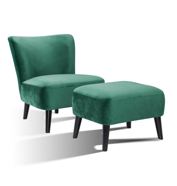 SalesFever Polstersessel inkl. Sitzhocker | Stoffbezug in Samt | seegrün