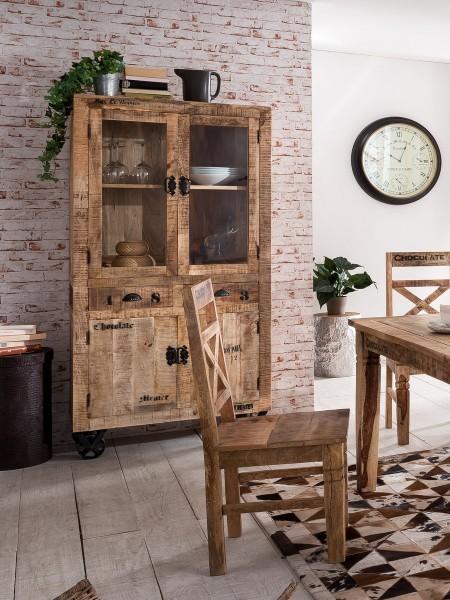 SIT Möbel Rustic Vitrine auf Rollen antifinish 180 cm
