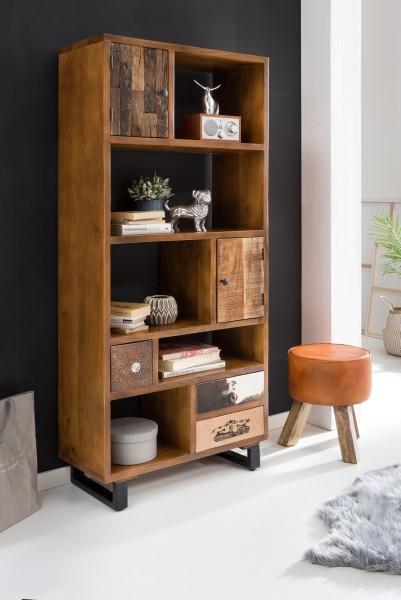 WOHNLING Bücherregal PATNA 180 x 80 x 35 cm Massiv Holz Mango Natur mit Schubladen