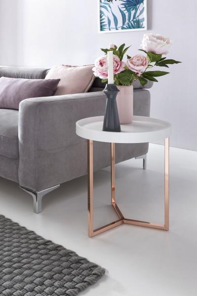 WOHNLING Design Beistelltisch Weiß / Kupfer ø 40 cm Tabletttisch Holz Metall | Wohnzimmertisch mit