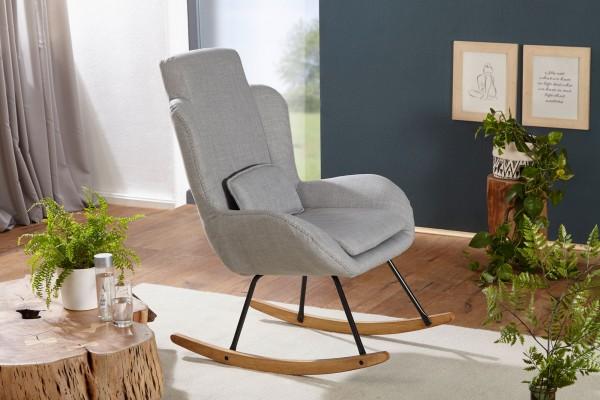 WOHNLING Schaukelstuhl ROCKY Grau Design Relaxsessel 75 x 110 x 88,5 cm   Sessel Stoff / Holz