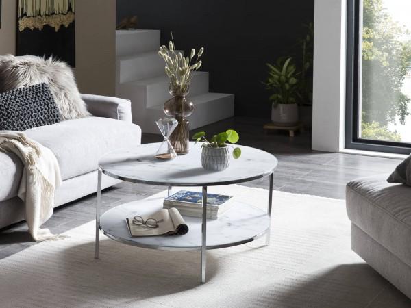 Designer Couchtisch mit 2 Ablagen Ø 80 cm, Glas Marmoroptik Weiß