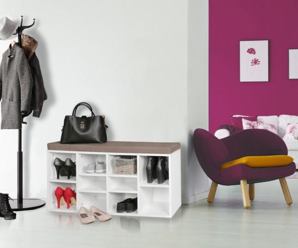 WOHNLING Schuhbank mit Sitzauflage LAURA weiß 103,5 cm