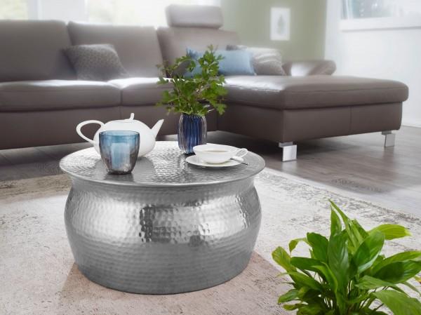 WOHNLING Couchtisch KARAM 60x30,5x60cm Aluminium Silber Beistelltisch orientalisch rund