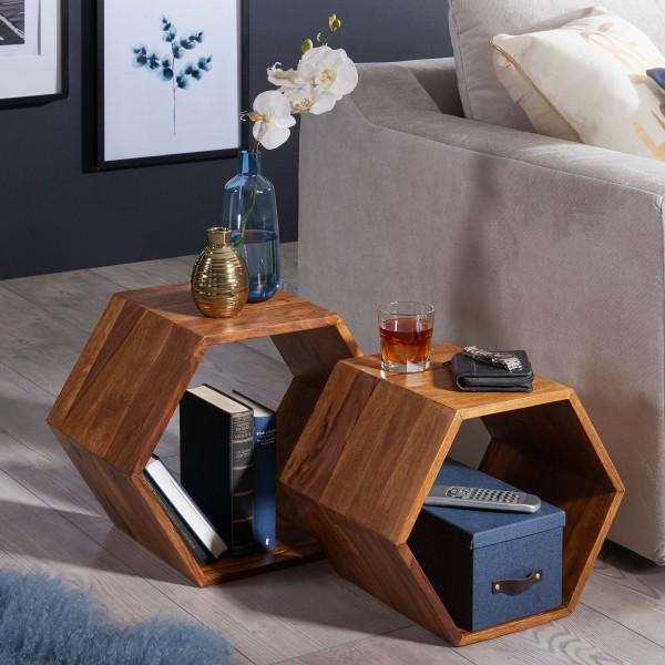 WOHNLING Beistelltisch 2er Set KASA Sheesham Massivholz Design Wohnzimmertisch | Couchtisch-Set