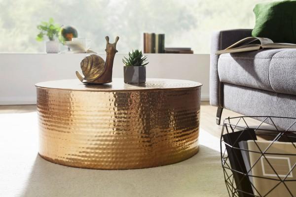 WOHNLING Couchtisch RAHI 75x31x75 cm Aluminium Beistelltisch Gold Orientalisch Rund | Hammerschlag