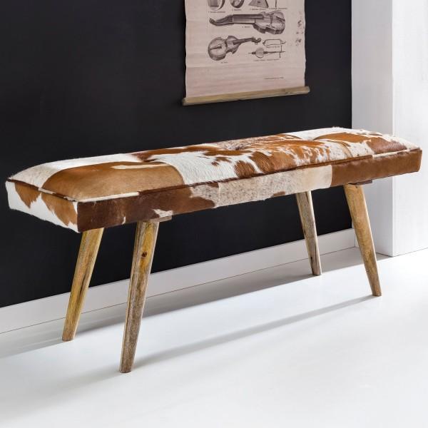 WOHNLING Sitzbank innen aus echtem Ziegenfell Braun Weiß 120 x 40 x 52cm | Design Flurbank Deko