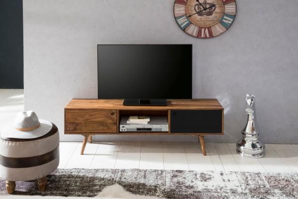 WOHNLING TV Lowboard REPA 140 cm Massiv-Holz Sheesham Landhaus 2 Türen & Fach   HiFi Regal braun