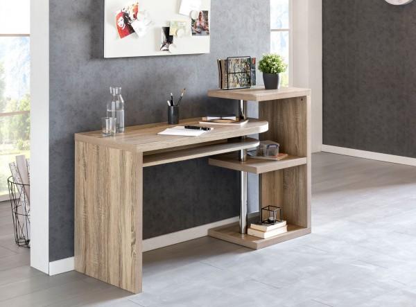 WOHNLING Schreibtisch LARRY 145x50x94 cm Bürotisch mit Regal Sonoma | Winkelschreibtisch Schwenkbar