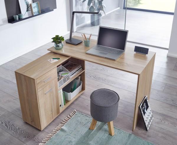 Wohnling Design Eckschreibtisch mit Regal Sonoma 120 x 75,5 x 106,5 cm