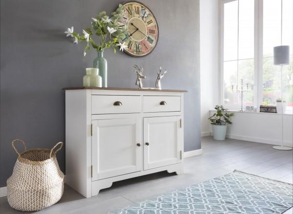 WOHNLING Sideboard MAYLA mit 2 Türen 110 x 85 x 45 cm Weiß / Braun Holz