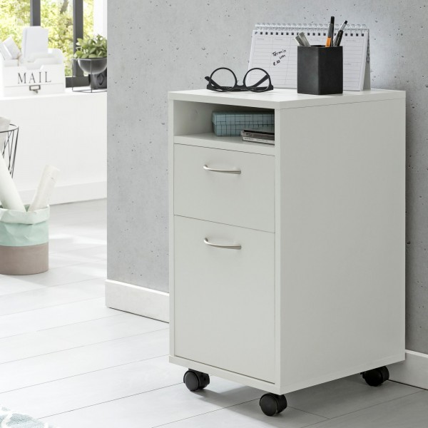 WOHNLING Rollcontainer WL5.901 Weiß 33x63x38 cm Schreibtisch-Unterschrank Holz | Roll-Kommode
