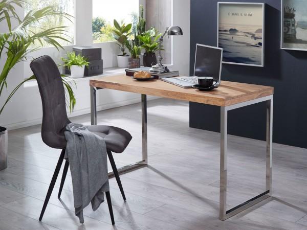 WOHNLING Schreibtisch GUNA Massivholz Akazie Computertisch 120 x 60 cm Laptoptisch Konsolentisch