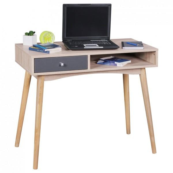 WOHNLING Schreibtisch SAMO 90 x 78 x 45 cm mit Schublade in Sonoma Eiche | Computertisch