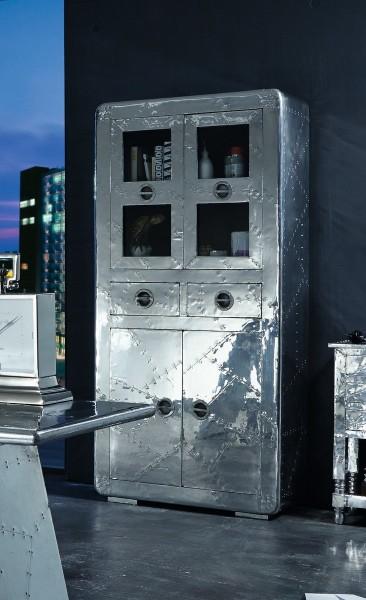 Sit Möbel AIRMAN Vitrine Aluminium   L 90 x B 40 x H 187 cm   silber   01704-21