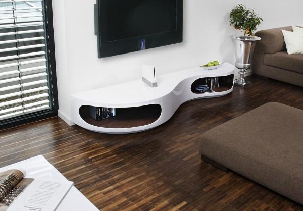 SalesFever Design TV Lowboard 200x50x30 cm weiß/Walnuss