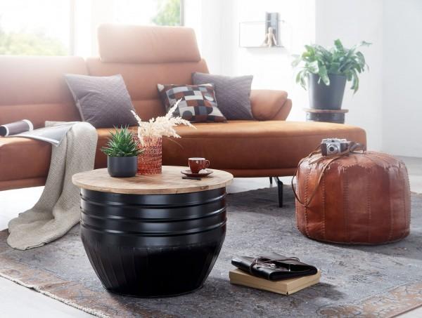 Wohnling Couchtisch Mango Holz Metall 60x41x60 cm Industrial Style Rund   Design Wohnzimmertisch