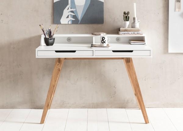 WOHNLING Schreibtisch SKANDI 110 x 85 x 60 cm MDF-Holz skandinavisch weiß matt Arbeitstisch