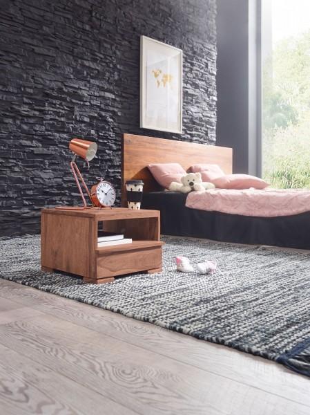 WOHNLING Nachttisch MUMBAI Massiv-Holz Akazie Nacht-Kommode 30 cm 1 Schublade Ablage