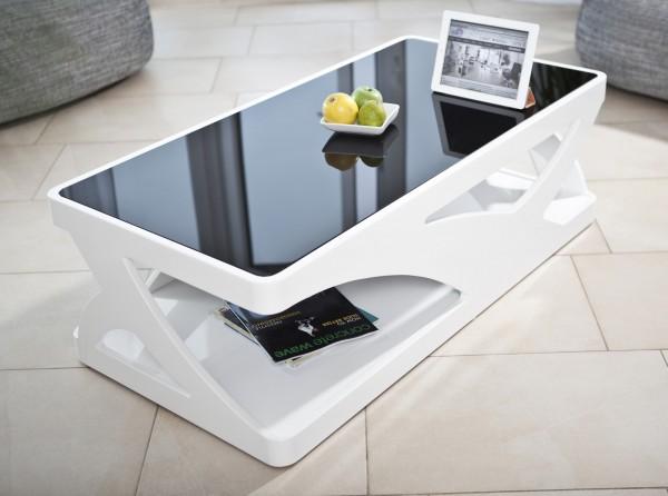 Designer Couchtisch 120x60x38 cm weiß/schwarz - extravagantes Design