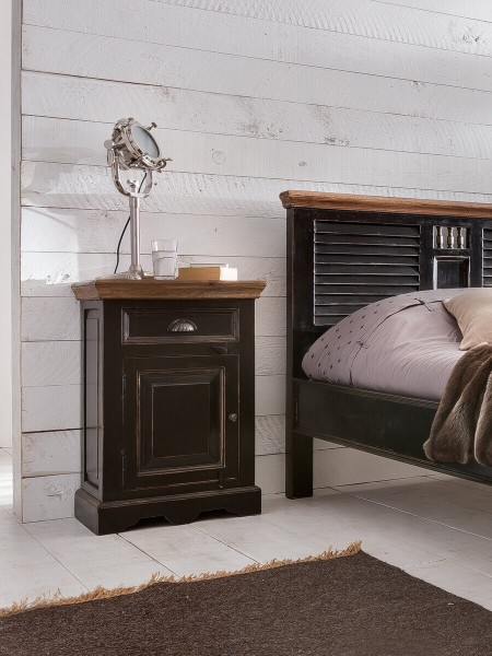 SIT-Möbel Nachttisch 50 cm CORSICA, schwarz mit honigfarbiger Deckplatte