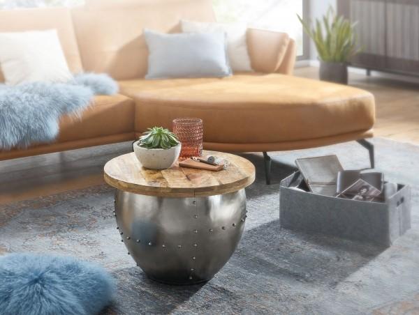 Couchtisch Rund Holz Metall Sofatisch Ø 60 cm Tisch Industrial Stauraum