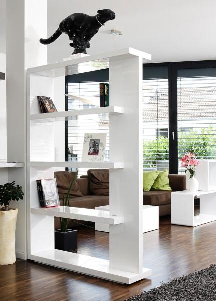 Wohnzimmer Raumteiler Regal B/T/H: 128/30/180 cm, weiß Hochglanz