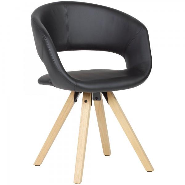 WOHNLING Esszimmerstuhl Kunstleder Schwarz Retro | Küchenstuhl mit Lehne | Stuhl mit Holzfüßen