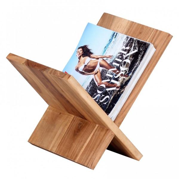 WOHNLING Zeitungsständer MUMBAI Massivholz Akazie X-Form 31 cm Zeitschriften-Ständer Design Prospekt