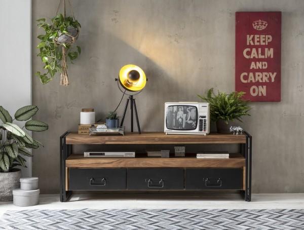 SIT Möbel TV-Lowboard 160 cm aus Akazie natur | 3 Schubladen und 1 Fach | Gestell Altmetall