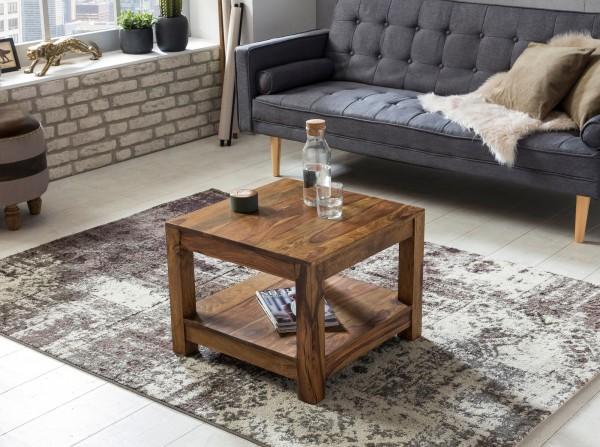 WOHNLING Couchtisch MUMBAI Massiv-Holz Sheesham 60 x 60 cm Wohnzimmer-Tisch Design dunkel-braun