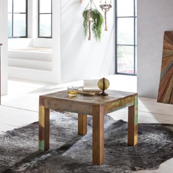 WOHNLING Couchtisch KALKUTTA 60 x 47 x 60 cm | Massivholz Beistelltisch Shabby-Chic