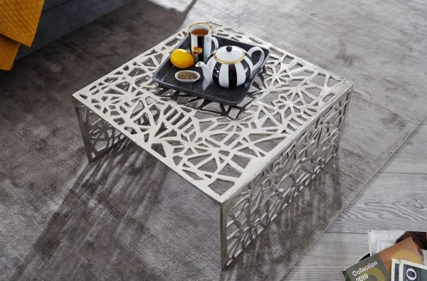 Wohnling Couchtisch 60,5x60,5 cm Aluminium Silber Loungetisch Quadratisch