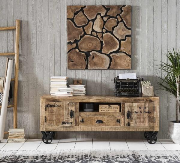 SIT Möbel RUSTIC Lowboard lackiertes Mangoholz | L 140 cm | natur / antikschwarz | 01915-04