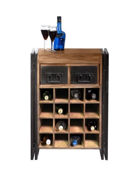 SIT Möbel Weinregal für 16 Flaschen | 2 Schubladen | Akazie natur | Altmetall antikschwarz