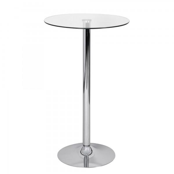 AMSTYLE Stehtisch 60 cm Rund Glasplatte Farbe Silber