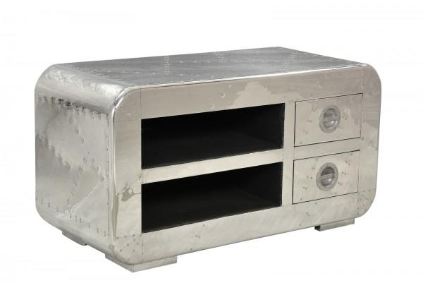 SIT Möbel Airman Lowboard 100 cm | 2 Schubladen, 2 offene Fächer | Mangoholz + MDF mit Alu beschlage