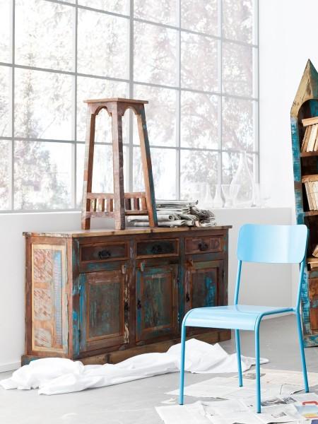 SIT Möbel Sideboard Riverboat | 3 Türen, 3 Schubladen | Altholz lackiert | bunt | B 140