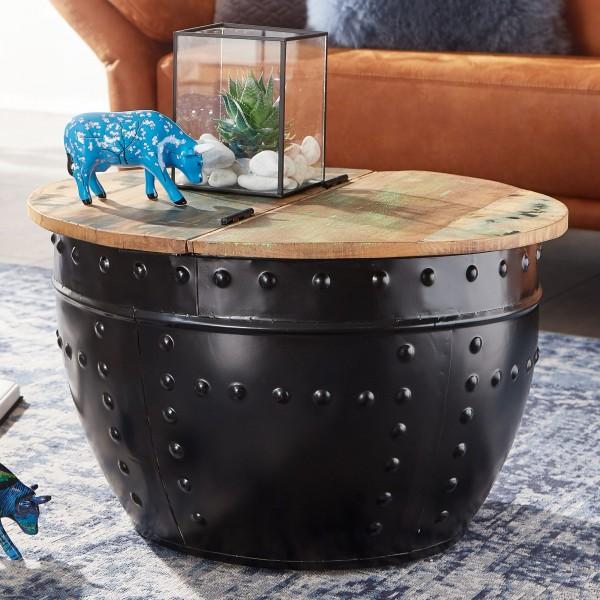 Design Wohnzimmertisch Massivholz mit Stauraum 60 cm Rund Metall Schwarz